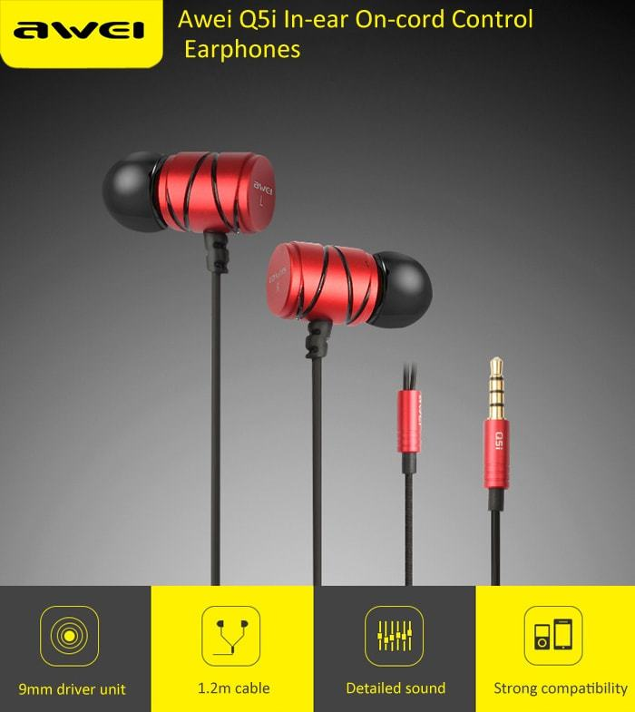 Awei Q5i In-ear Earphones Built-in Mic On-cord Control