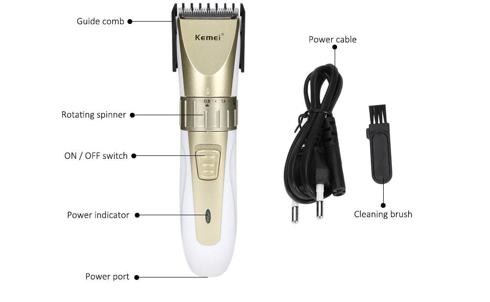 Kemei KM - 0721 Adjustable Rechargeable Hair Clipper Haircut Trimmer