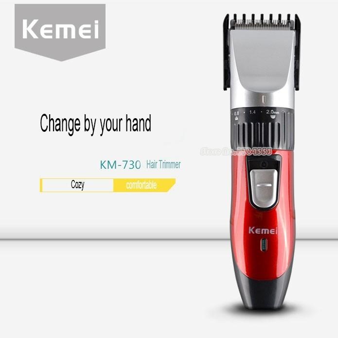 Red Kemei KM-730 Rechargeable Wireless Hair Clipper Professional Shaving Machine Razor Barber Cutting Beard Trimmer Men's Care-6