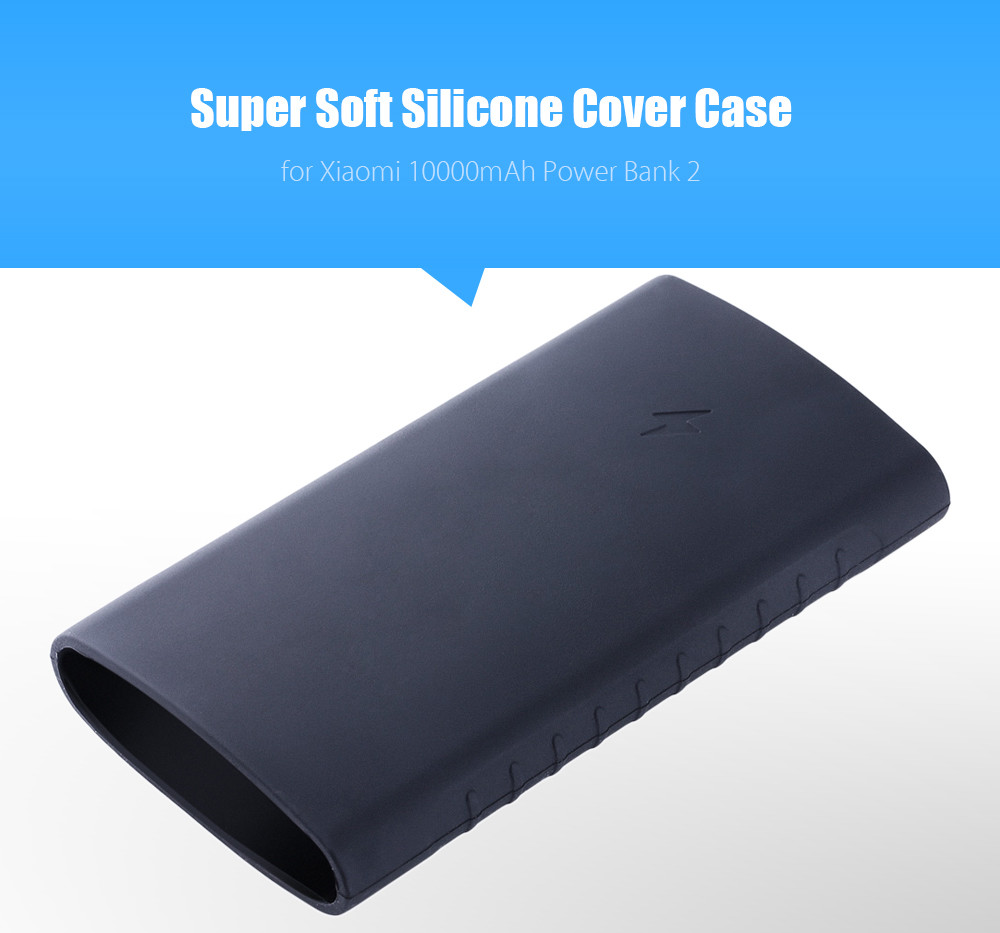purchase cheap b1929 82442 Silicone Cover Protective Case for Xiaomi 10000mAh Power Bank 2 - Black