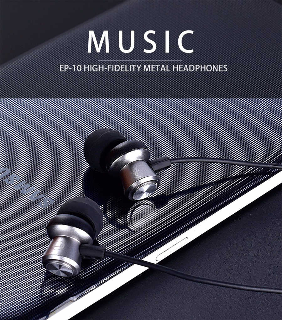 USAMS EP-10 3.5mm In-ear Sport High Fidelity Noise Reduction Metal Earphone for Samsung iPhone