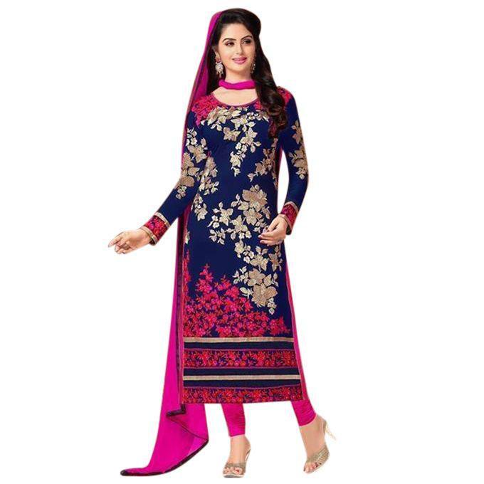 Navy Blue Cotton Un-stitched Block Printed Shalwar Kameez For Women
