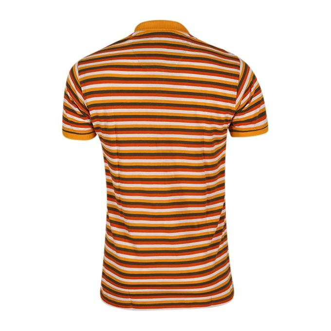 Goldenrod and Brown Cotton Polo For Men