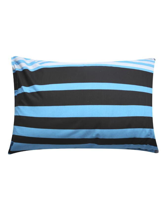 Cotton Printed Pillow Cover - Black and Blue