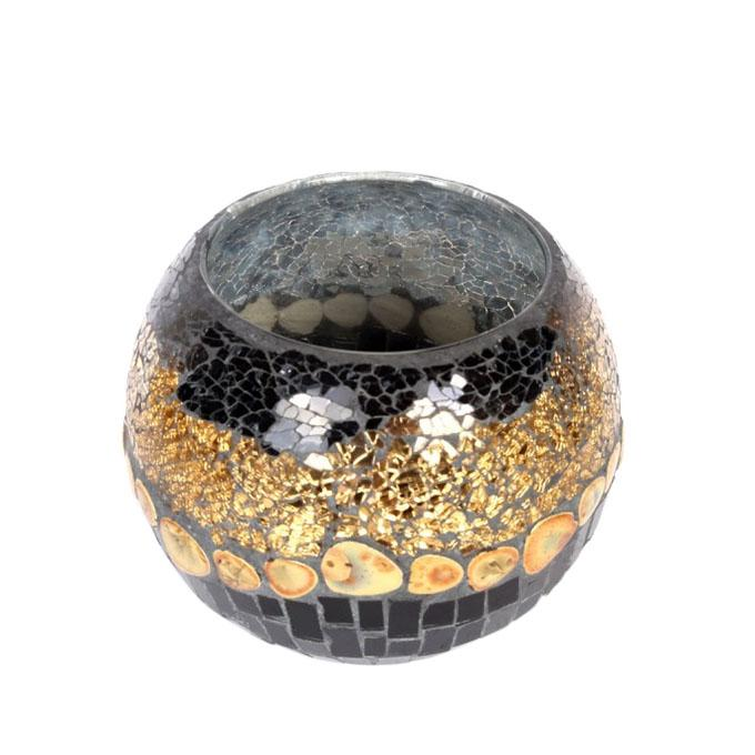 "Mosaic Glass Vase - 6"" - Gold and Black"