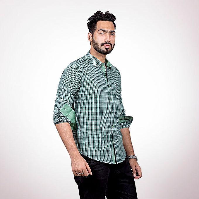 Cotton Casual Long Sleeve Shirt - Green check