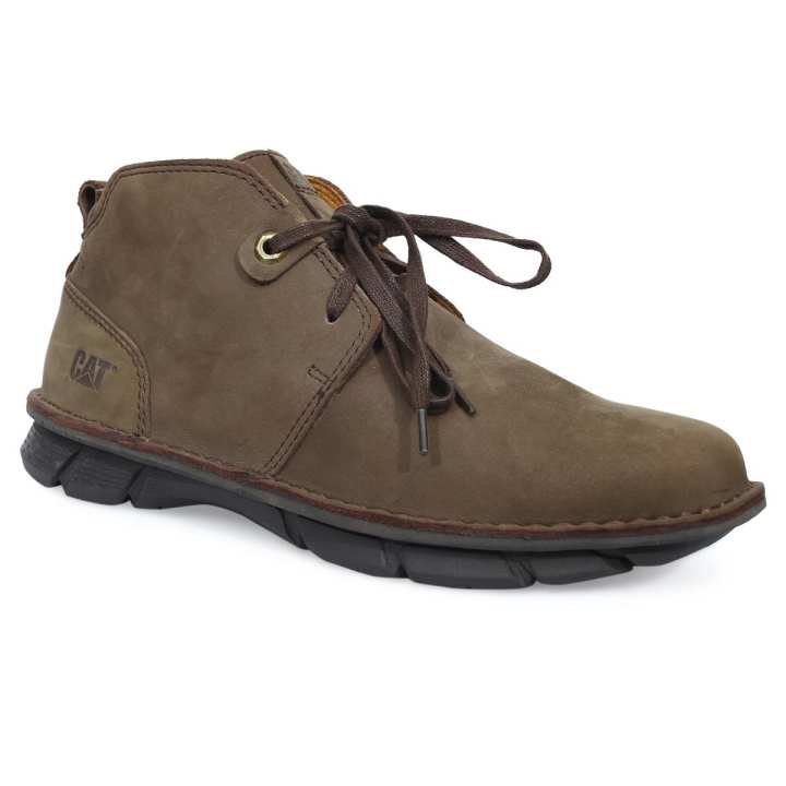 Chocolate Leather Semi High Boot For Men