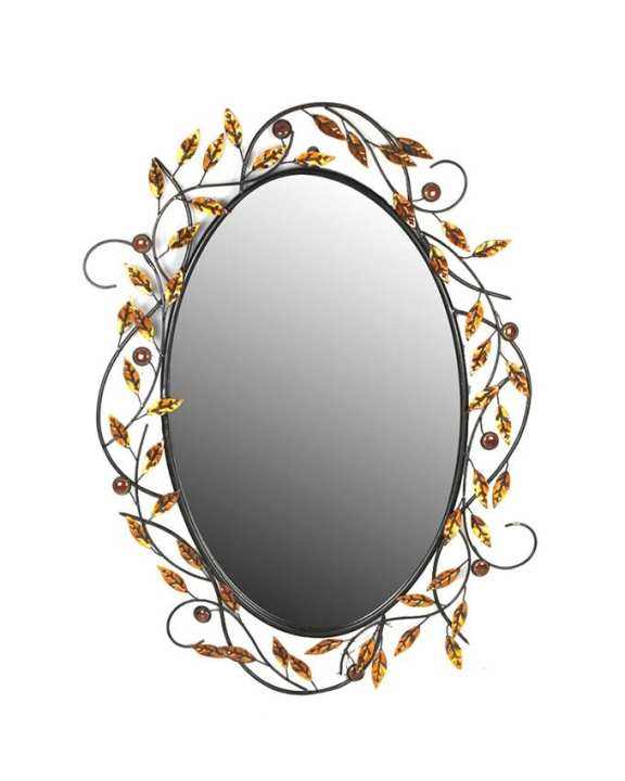 Oval Metal Accent Wall Mirror With Antique Stones Set In Black Frame - Black and Bronze