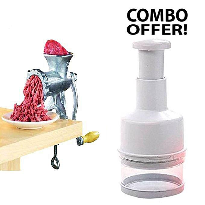Vegetable Chopper and Meat Mincer Combo - White and Silver