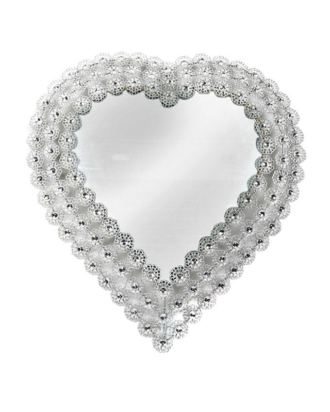 Metal Heart Shaped Accent Wall Mirror set in Silver Frame & Stones - Silver