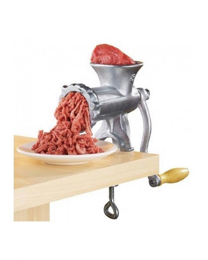 Cast Iron Hand Operated Meat Grinder - Silver