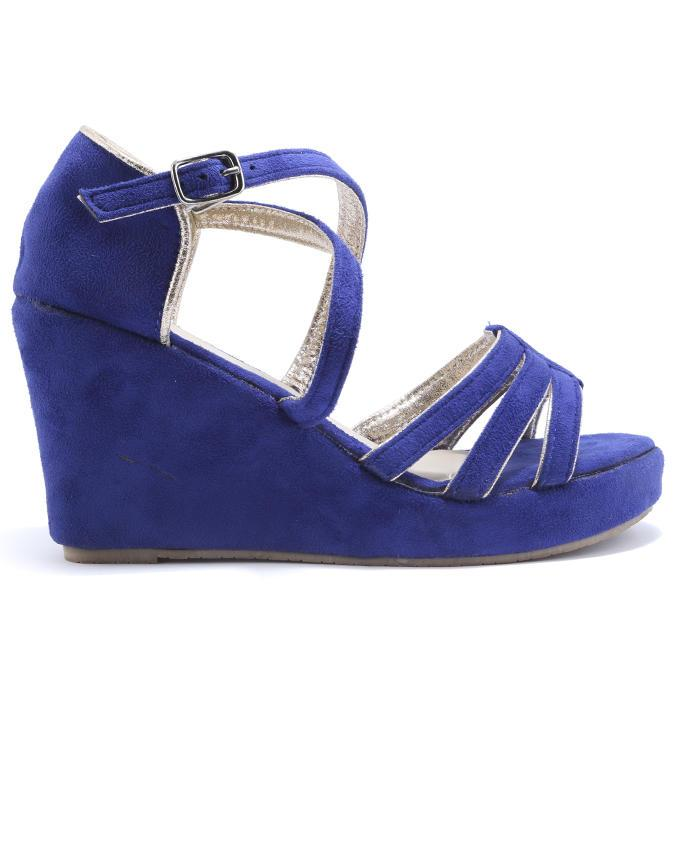 Leather Women Wedges Sandals - Blue