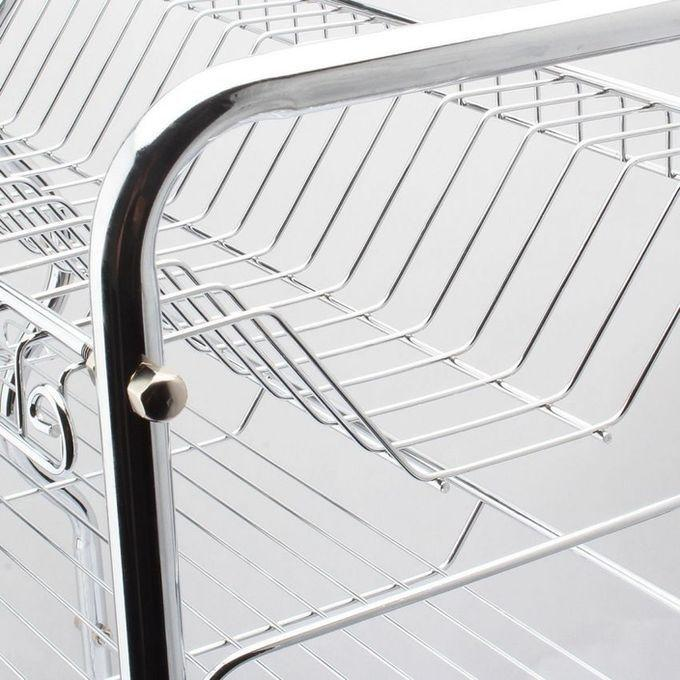 Kitchen Two Layer Dish Rack - silver