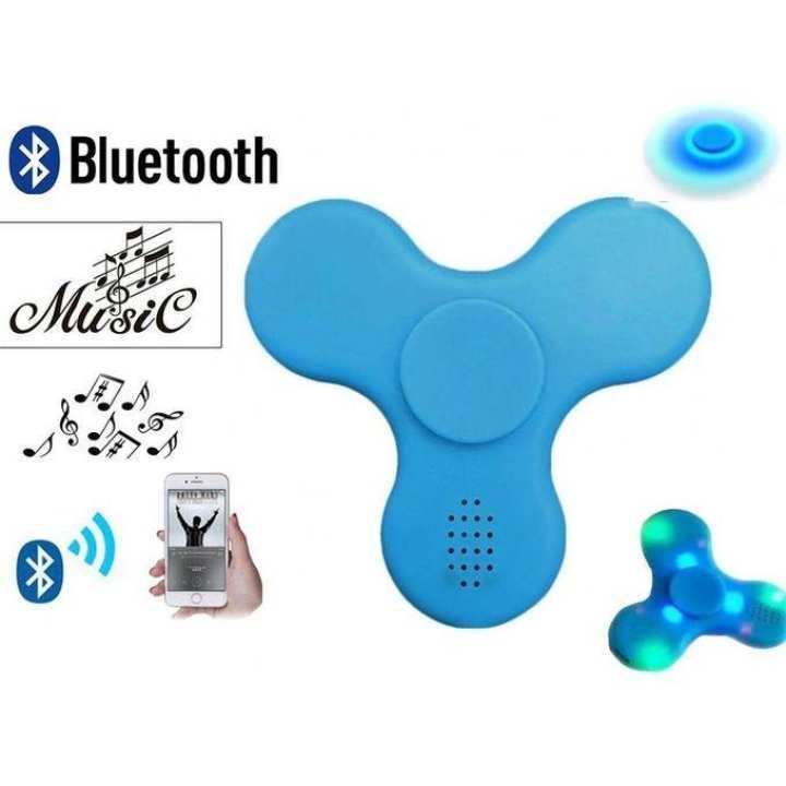 Wireless Bluetooth Speaker LED Fidget Spinner Toy - Blue