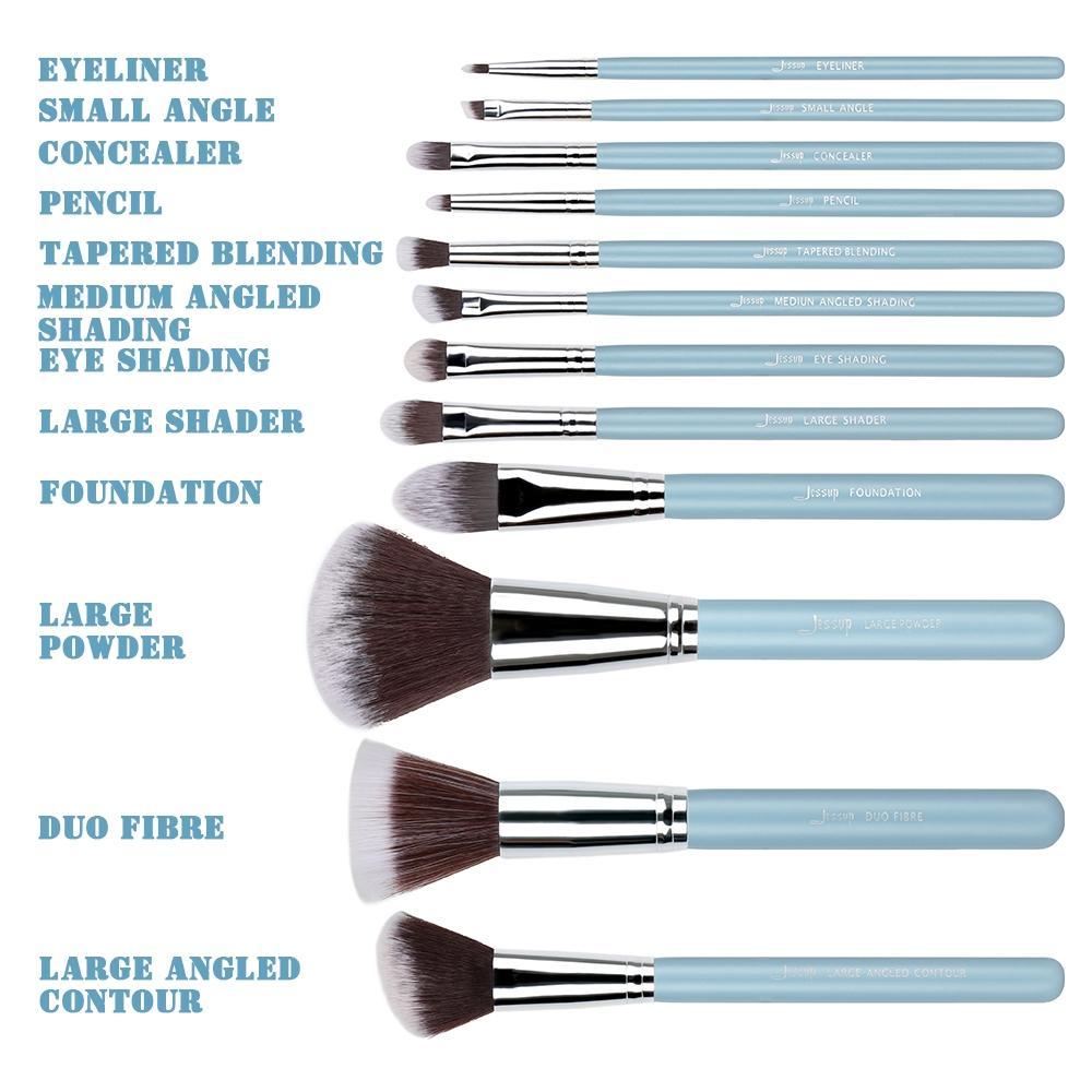 T086 12 PCs Essential Series Brush Set - Sky Blue