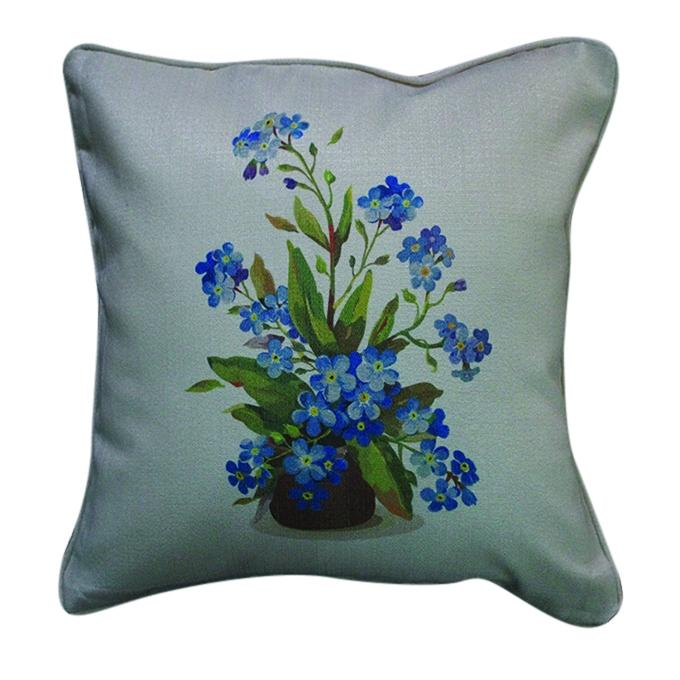 Flower Pot Printed Cushion Cover -  Off-white