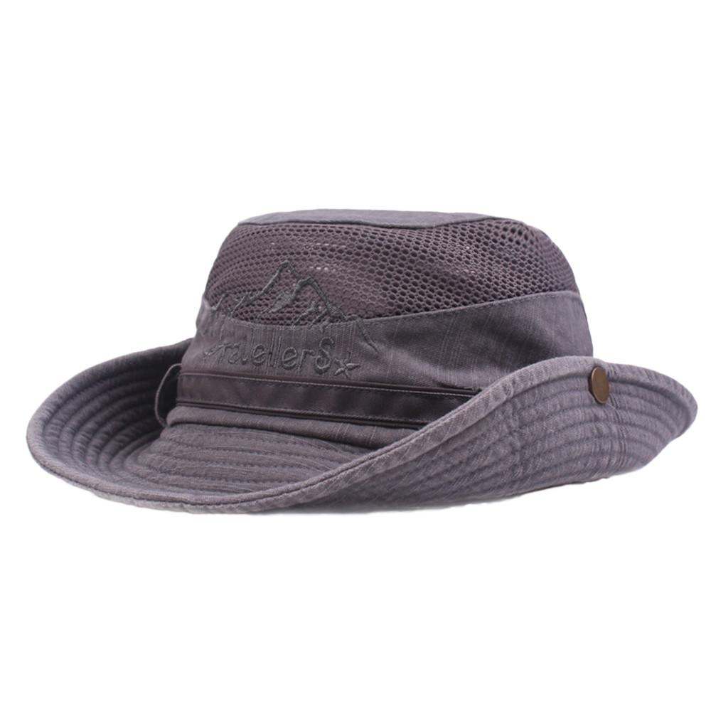 c855577ecb8 Mens Cotton Embroidery Visor Mesh Bucket Hats Fisherman Hat Outdoor  Climbing Cab