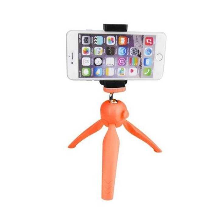 Mini Tripod with Phone Holder Clip for Smartphone - Orange