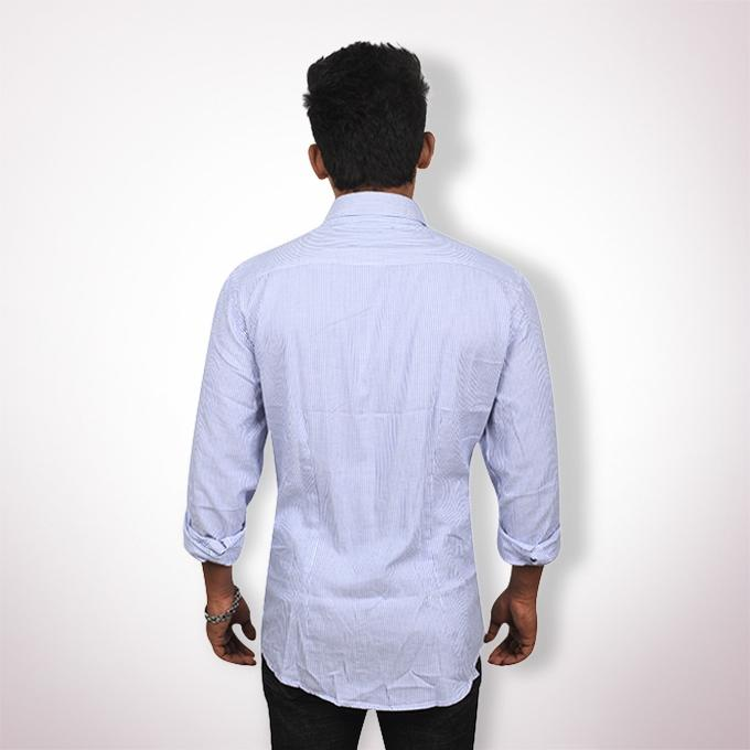 Sky Blue Cotton Long Sleeve Formal Shirt for Men