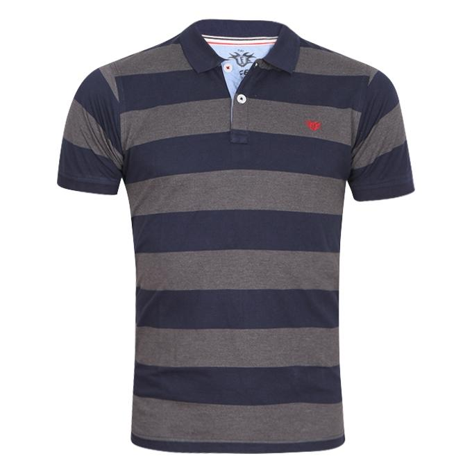 Black and Gray Cotton Casual Polo For Men
