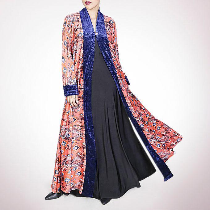 Lycra Spandex Flared Long Coat - Multicolor