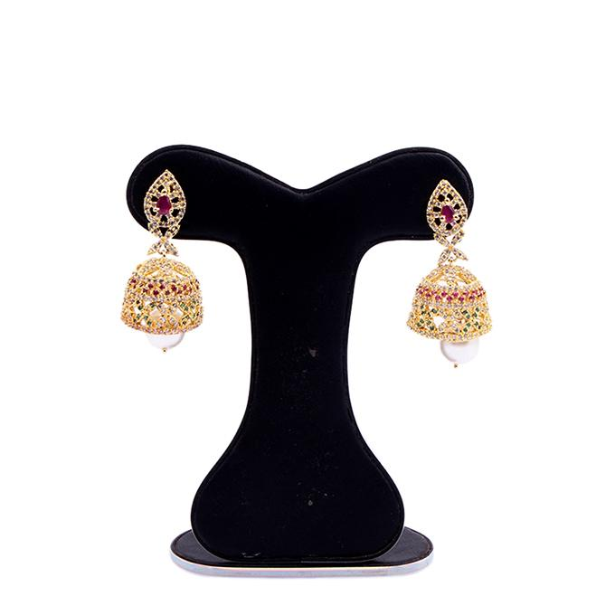 Diamond Cut Earring For Women - Golden With Ruby and Panna Stone