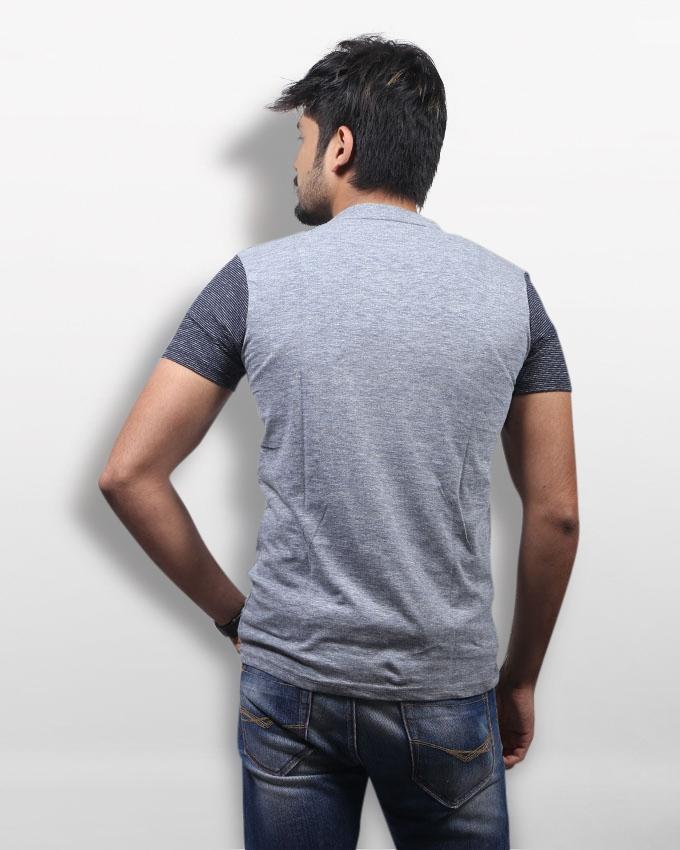 Ash and Grey Cotton Round Neck T-Shirt For Men
