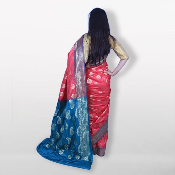 Red Katan Saree For Women