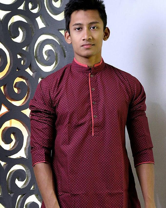 Maroon Cotton Panjabi For Men