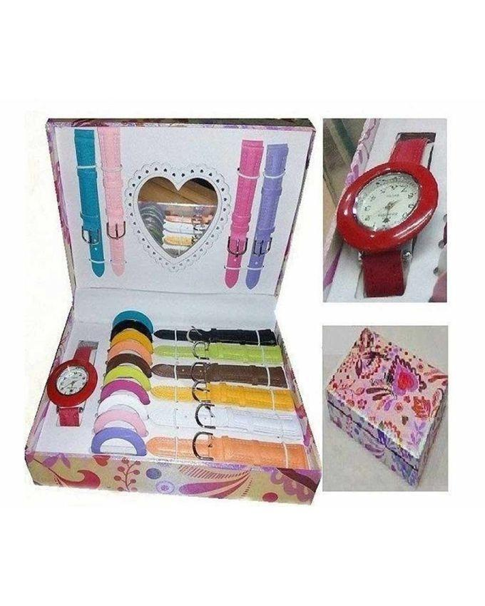 10 In 1 Artificial Leather Analog Watch for Women - Multicolor