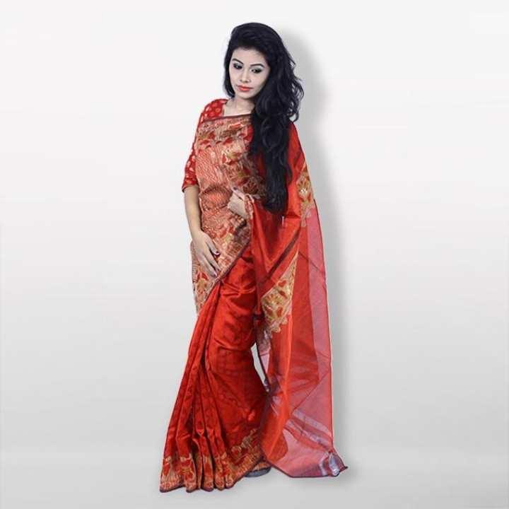 Red Reshmi Silk Jute Net Saree  For Women