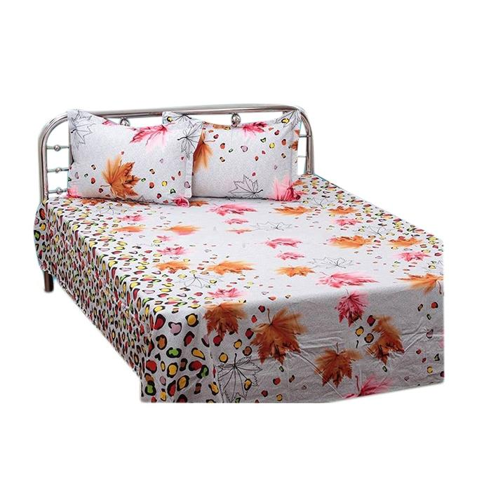 Cotton Double Size Bed Sheet Set with Two Pillow Covers - White