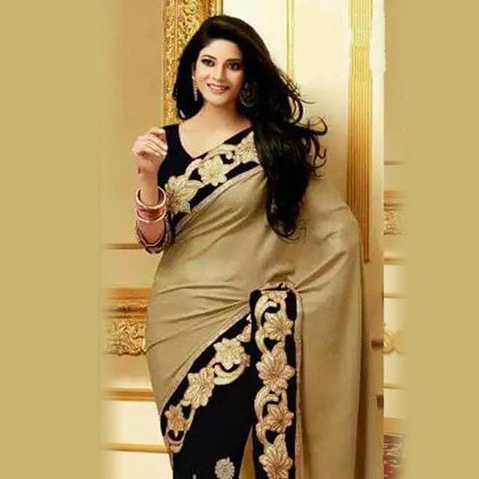 Golden and Black - Georgette Sharee with Unstitched blouse piece