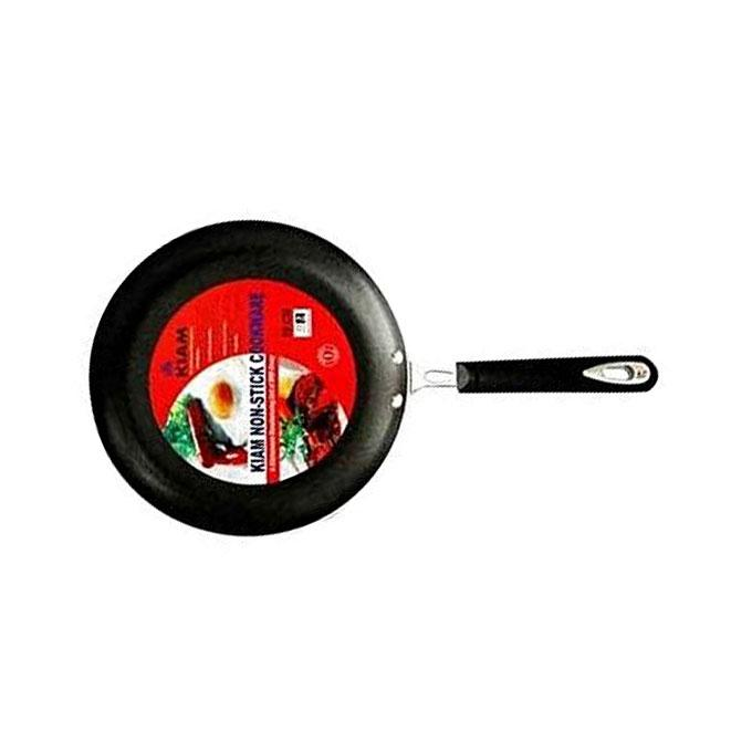 Non-Stick 22 CM Fry Pan With Glass Lid - Silver and Black
