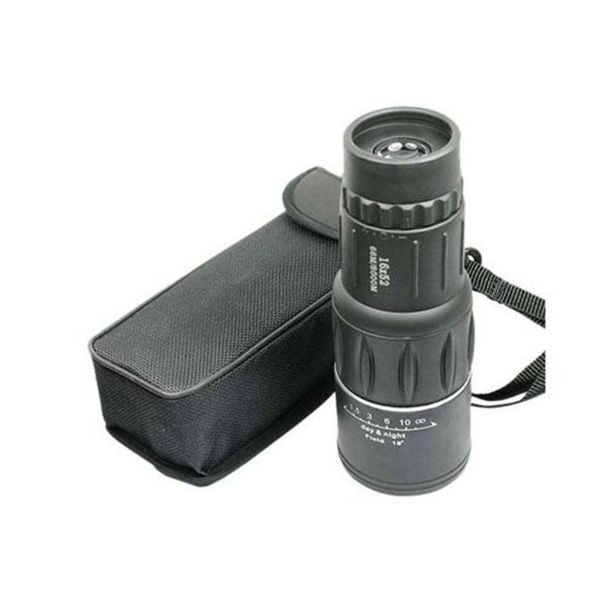 16X52 Monocular Zoom Rubber Armored Telescope - Black