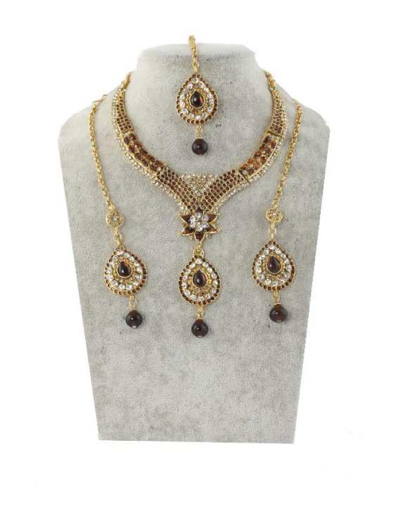 Gold Body Necklace With Ear Rings and Tickly - Golden and Brown