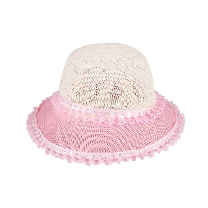 Plastic Hat for Girls - White and Pink