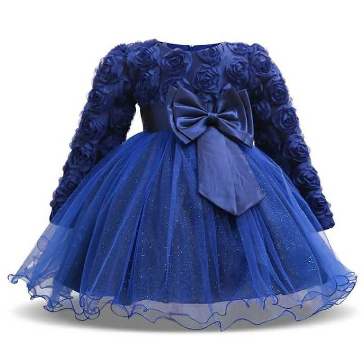 Navy Blue Cotton and Viscose Party Dress For Girls