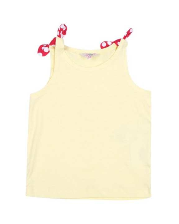 Yellow Cotton Sleeve Less Tshirt For Girls