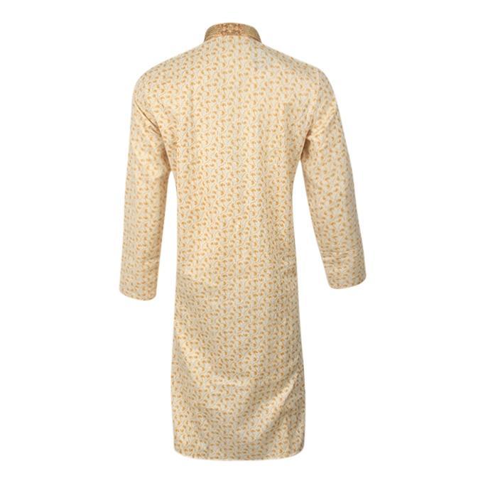 White and Dark Yellow Cotton Panjabi For Men