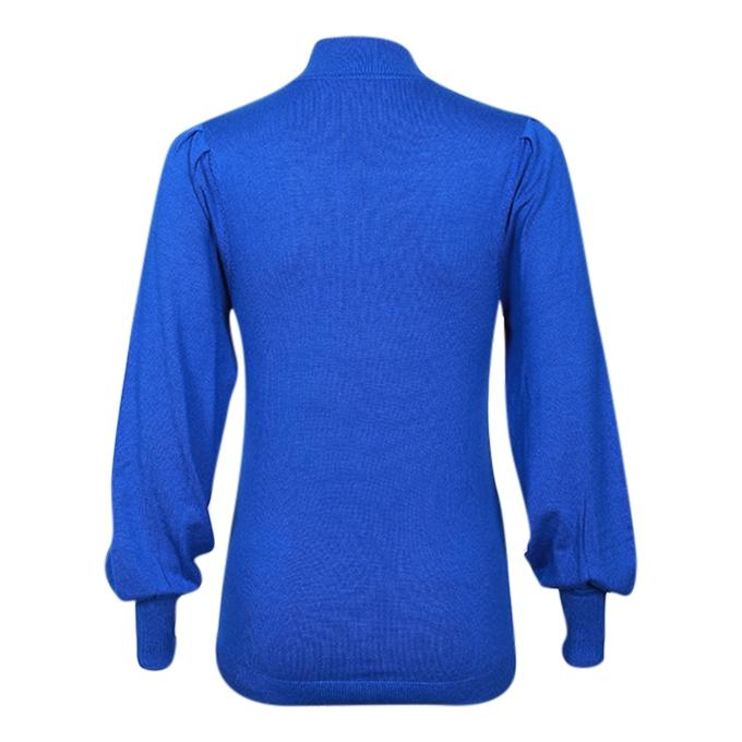 Blue Viscose Long Sleeve Round Neck Sweater for Women