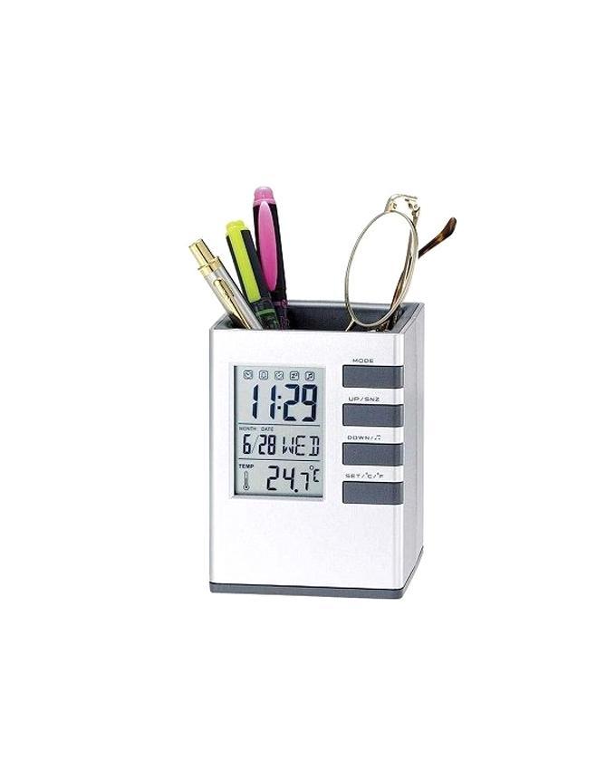 Desk Stand Clock - Silver
