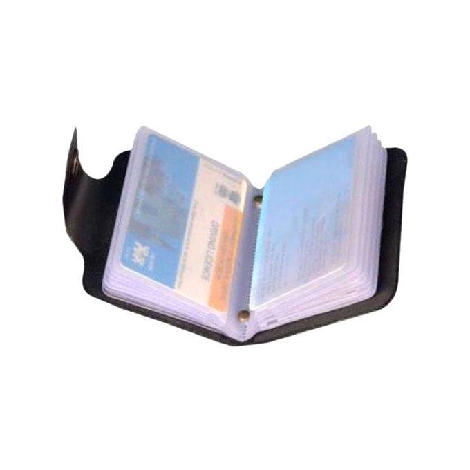 Black Eaglebuzz Leather Card Holder for Men