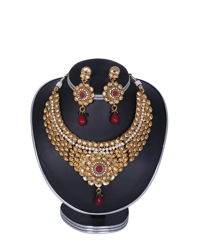 Gold Plated Jewellery Set For Women - Golden and Maroon