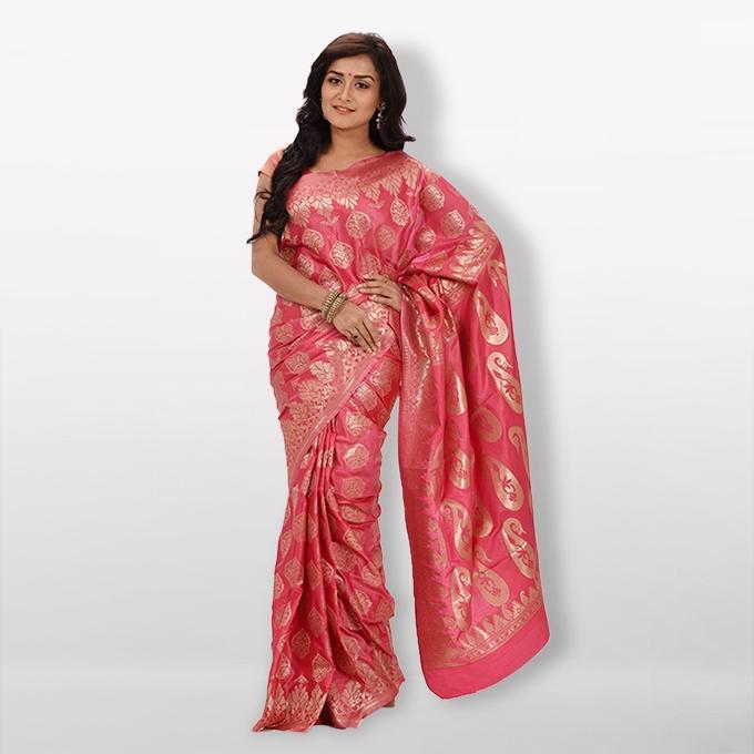 Pink -  Katan Silk & Jori Saree For Women