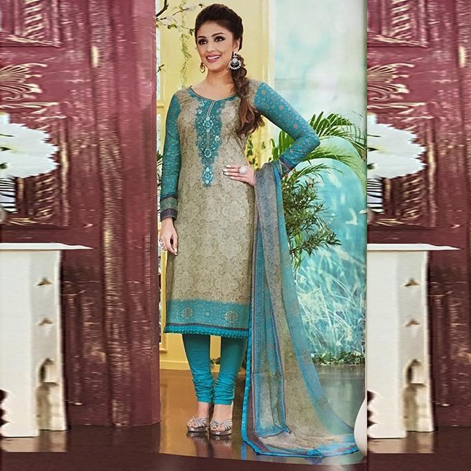 Olive And Teal Cotton Unstitched Shalwar Kameez For Women