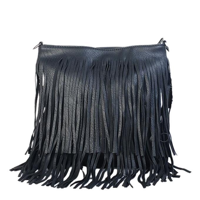 Black Both Side Fringe Messenger Bag for Women