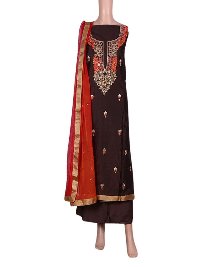 Unstitched Shalwar Kameez For Women - Dark Chocolate and Gray