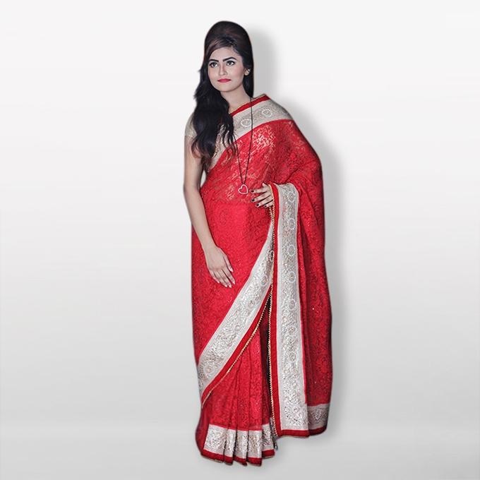 Red and White Cotton Sharee For Women
