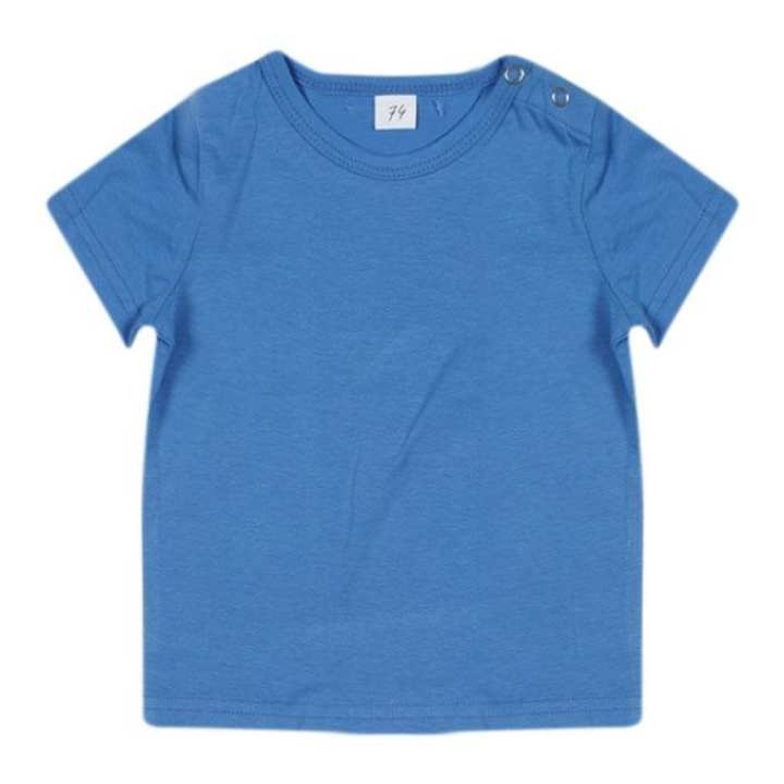 Blue Cotton Short Sleeves T-shirt For Girls